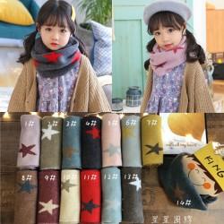 秋冬仿羊絨兒童圍巾 星星圖案兒童圍巾 冬季必備保暖圍巾